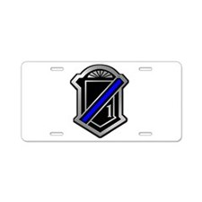 One Blue Line Aluminum License Plate