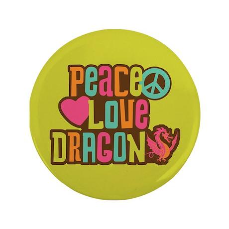 """Peace Love Dragon 3.5"""" Button"""