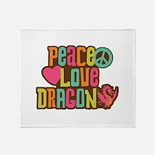 Peace Love Dragon Throw Blanket