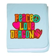 Peace Love Dragon baby blanket