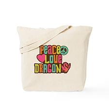 Peace Love Dragon Tote Bag