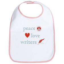 Peace, Love and Writers Bib