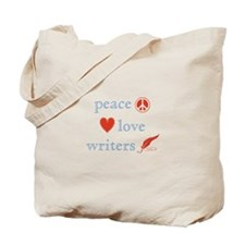 Peace, Love and Writers Tote Bag