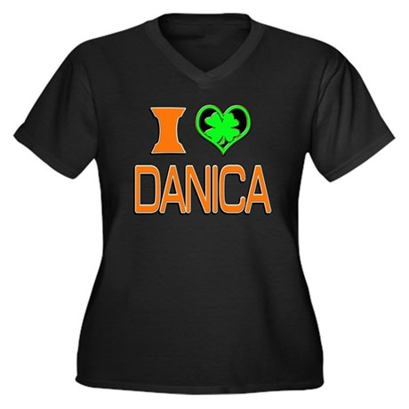 IHDanica Women's Plus Size V-Neck Dark T-Shirt