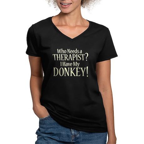 THERAPIST Donkey Women's V-Neck Dark T-Shirt