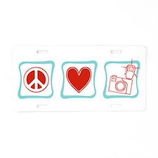 Peace, Love and Photographers Aluminum License Pla