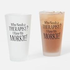 THERAPIST Morkie Drinking Glass