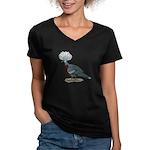 Victoria Crowned Pigeon Women's V-Neck Dark T-Shir