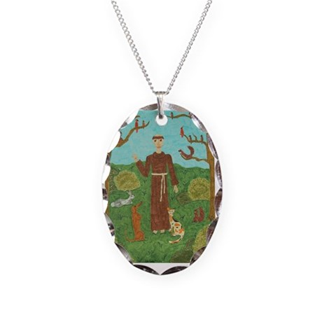 Saint Francis of Assisi Necklace Oval Charm