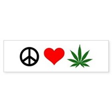 Peace Love Marijuana Bumper Sticker