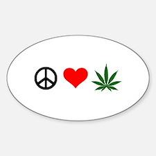 Peace Love Marijuana Sticker (Oval)