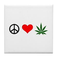 Peace Love Marijuana Tile Coaster