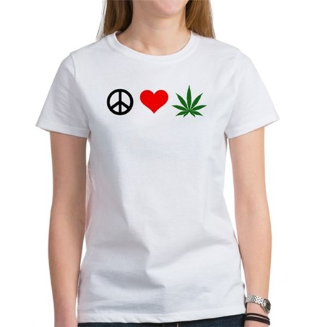Peace Love Marijuana Women's T-Shirt
