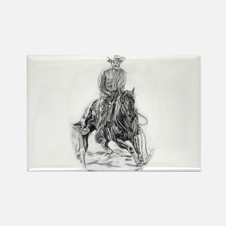 Cutting Horse Drawing Rectangle Magnet
