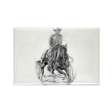 Cutting Horse Drawing Rectangle Magnet (100 pack)