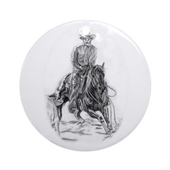 Cutting Horse Drawing Ornament (Round)