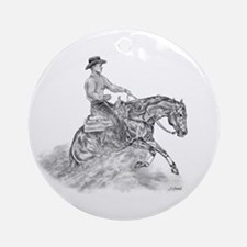 Reining Horse drawing Ornament (Round)