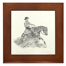 Reining Horse drawing Framed Tile