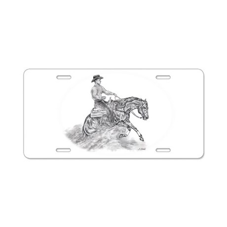 Reining Horse drawing Aluminum License Plate