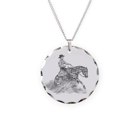 Reining Horse drawing Necklace Circle Charm