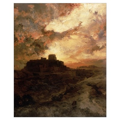 Sunset, Pueblo del Walpe, Arizona, 1880 (oil on ca Poster