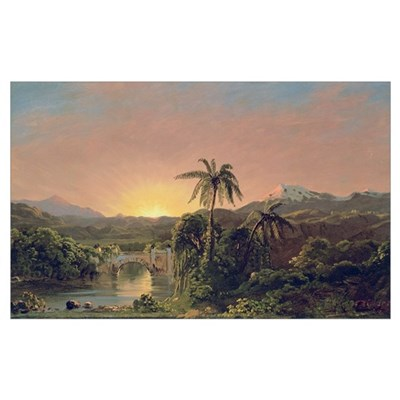Sunset in Equador (oil on canvas) Poster