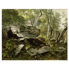 Study from Nature: Rocks and Trees, c.1856 (oil on Poster