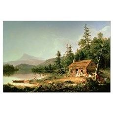 Home in the Woods, 1847 (oil on canvas) Framed Print