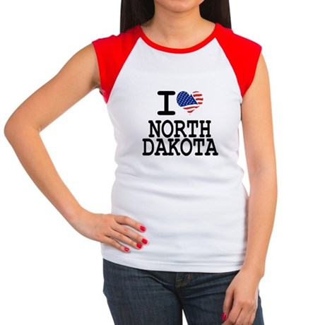 I LOVE NORTH DAKOTA Women's Cap Sleeve T-Shirt