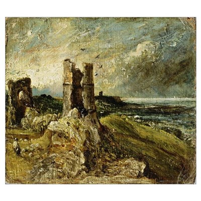 Sketch of Hadleigh Castle (recto) (oil on millboar Poster
