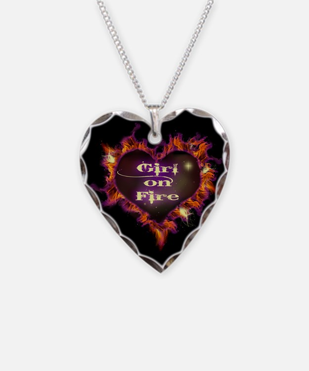 Girl on Fire Necklace Heart Charm