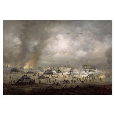 'The Tanks Go In', Sword Beach (oil on canvas) Poster