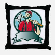 lumberjack woodcutter Throw Pillow