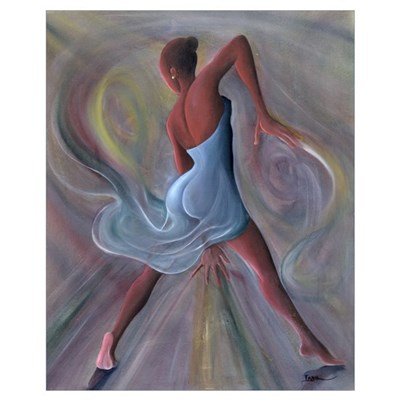 Blue Dress (oil on canvas) Poster