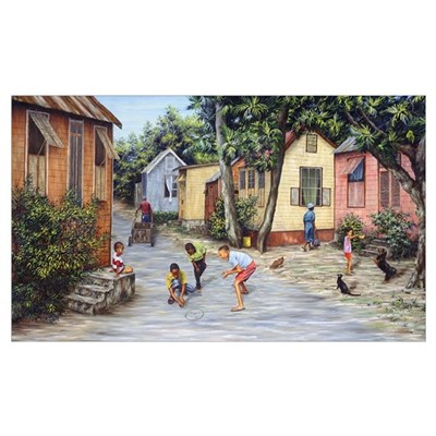 Village Life (oil on canvas) Poster