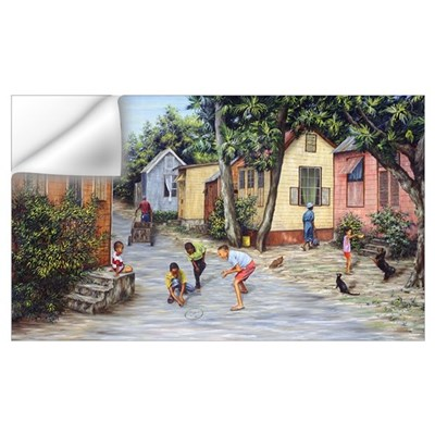 Village Life (oil on canvas) Wall Decal