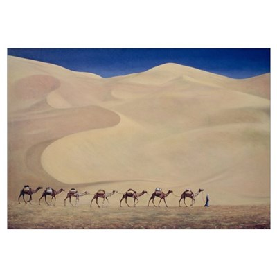 Camel Train (oil on canvas) Poster