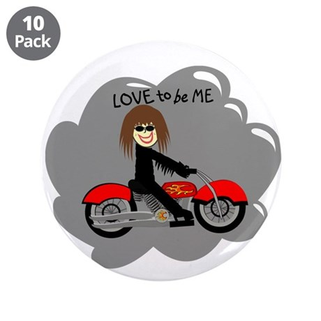 """BIKER GIRL - LOVE TO BE ME 3.5"""" Button (10 pack)"""