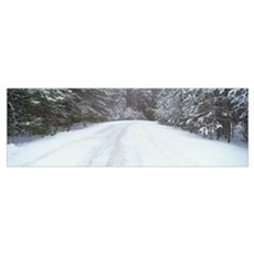 Snow covered road, Kent County, Michigan Poster