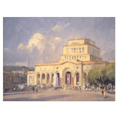 Evening, Republic Square, Yerevan (oil on canvas) Framed Print