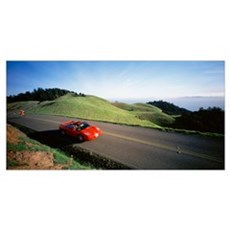High angle view of a car moving on a road, Bolinas Poster