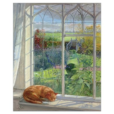 Sleeping Cat and Chinese Bridge (oil on canvas) Poster