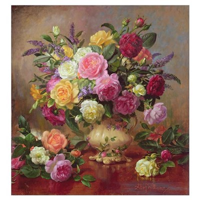 Roses from a Victorian Garden (oil on canvas) Poster