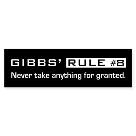 NCIS Gibb's Rule #8 Sticker (Bumper 50 pk)