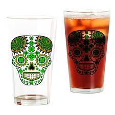 Shamrock Sugar Skull Drinking Glass