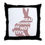 Rabbit lady Throw Pillows