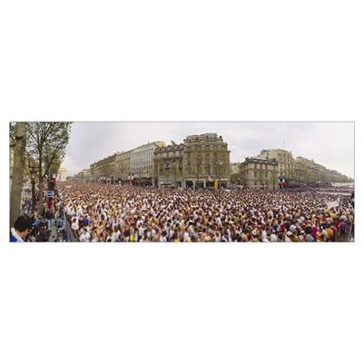 High angle view of marathon runners, Paris, France Poster