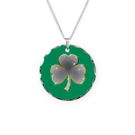 Clover Bling Necklace Circle Charm