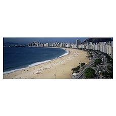 High angle view of the beach, Rid de Janeiro, Braz Poster