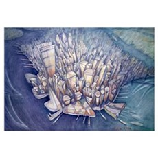 Manhattan from Above, 1994 (oil on canvas) Poster